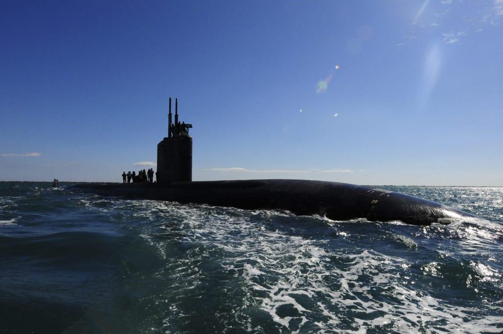 Attack submarine USS Scranton pulls into Augusta Bay.