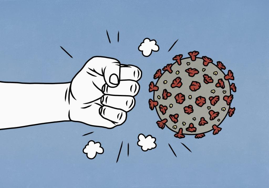 Fist punching coronavirus molecule