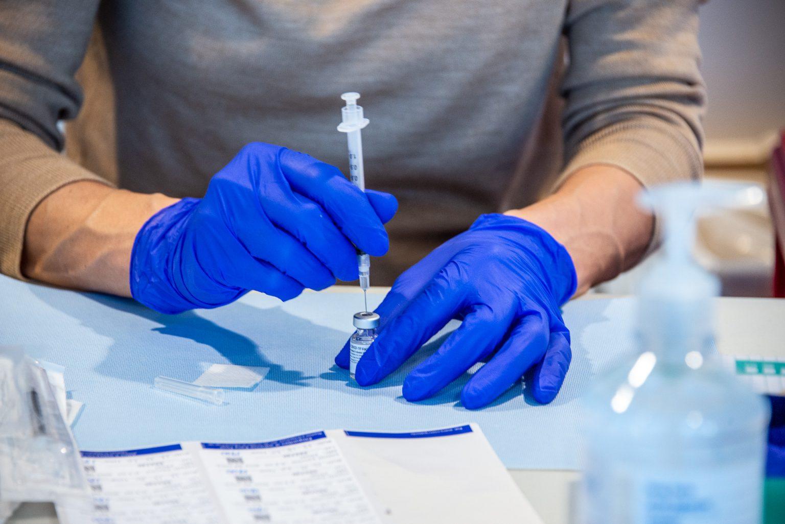Close up of covid vaccine vile
